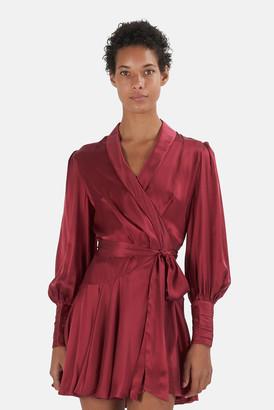 Zimmermann Burgundy Silk Wrap Minidress