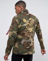 Alpha Industries Huntington Jacket with Dragon Back Embroidery in Green Camo