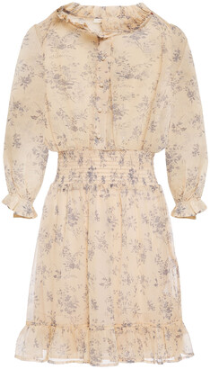 Maje Rythonie Shirred Floral-print Crepon Mini Dress