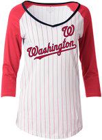 5th & Ocean Women's Washington Nationals Pinstripe Glitter Raglan T-Shirt