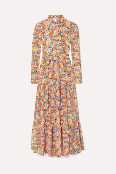 Stine Goya Judy Tiered Floral-print Silk Crepe De Chine Maxi Dress - Yellow