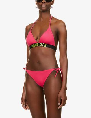 Calvin Klein Intense Power Fixed logo-trim stretch-jersey bikini top
