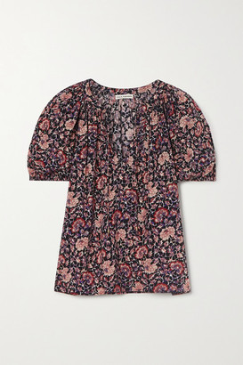 Ulla Johnson Evie Floral-print Cotton-blend Voile Blouse - Plum