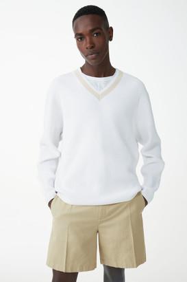 Cos Organic Cotton Deep V-Neck Sweater