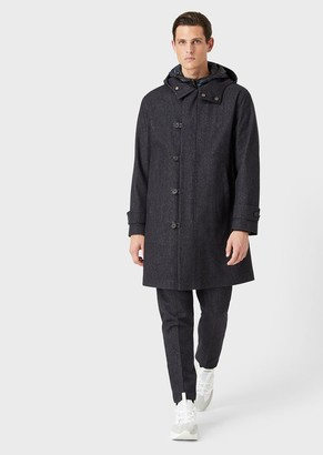Giorgio Armani Denim-Look, Wool Field Jacket With Removable Base Layer