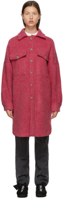 Palm Angels Pink Wool Logo Coat