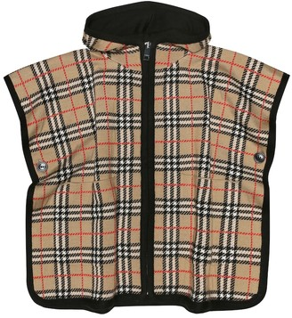 BURBERRY KIDS Check hooded wool cape