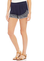 I.N. San Francisco Soft Embroidered Pom-Pom Trim Shorts