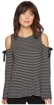 CeCe Bell Sleeve Scallop Jacquard Top w/ Bows Women's Clothing