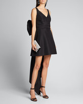 Carolina Herrera V-Neck A-Line Mini Dress w/ Back Bow Detail