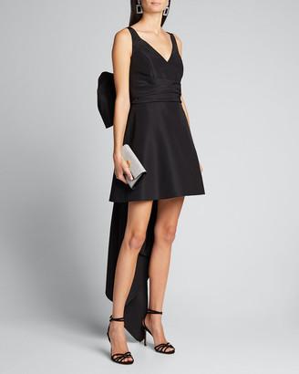 Carolina Herrera V-Neck A-Line Mini Dress w/ Back Bow Detail