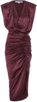 Veronica Beard Casela burgundy stretch-silk midi dress