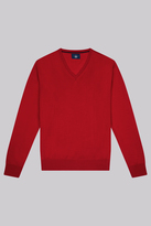Moss Bros Red V-Neck Jumper