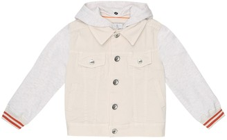 BRUNELLO CUCINELLI KIDS Denim and jersey jacket