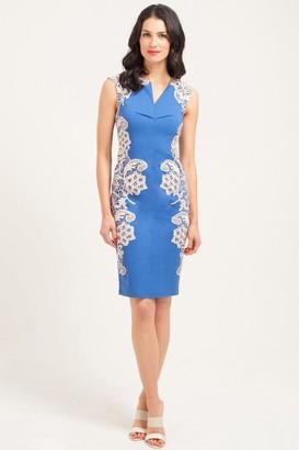 Paper Dolls Blue & Cream Mirrored Lace Dress