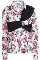 MSGM Cady-Paneled Floral-Print Cotton-Poplin Shirt