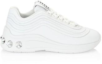 Miu Miu Silver Miu Jewelled Chunky Leather Sneakers