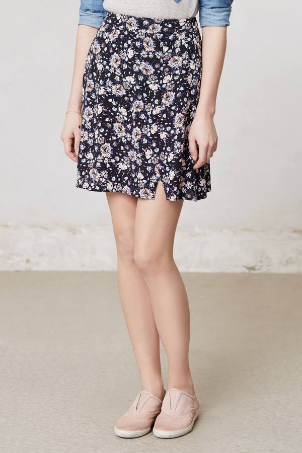 Anthropologie Floral Skater Skirt