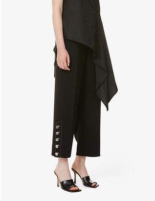 Sportmax Jessica button-embellished stretch-crepe trousers