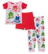AME Sleepwear Little Girls PJ Masks Pajama Tee, Shorts and Pants Set