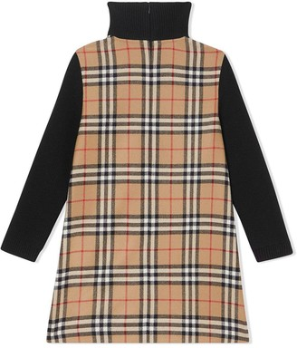 Burberry Kids Contrasting Check Wool Dress
