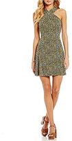 MICHAEL Michael Kors Halter Cross-Neck Floral Print Matte Jersey A-Line Dress