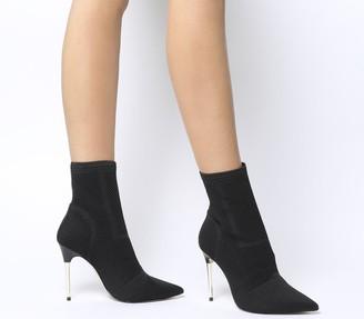Office Aflame Metal Heel Sock Boots Black Knit