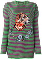 Gucci striped leopard head jumper - women - Wool - S