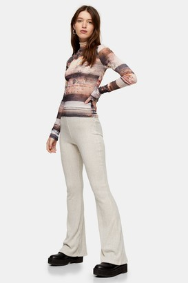 Topshop Womens Oat Brush Ribbed Flare Trousers - Oatmeal