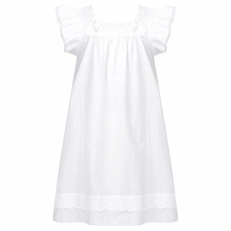Kaerm Kids Girls Puff Sleeve Square Neck Lace Princess Nightdress Cotton Vintage Nightgowns Loungewear Clothes White 7-8 Years