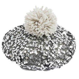 Pia Rossini Ladies Beret Hat ~ Silver Sequin with Grey Pom Pom ~ One Size ~ Dusty
