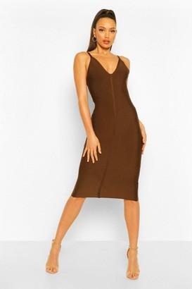 boohoo Tall Bandage V-Neck Bodycon Midi Dress