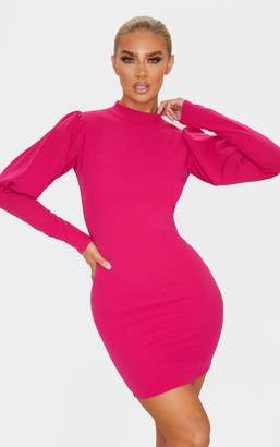 PrettyLittleThing Hot Pink High Neck Puff Sleeve Bodycon Dress
