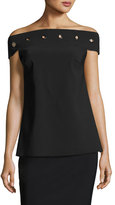 Chiara Boni Carey Off-the-Shoulder Grommet Top, Black