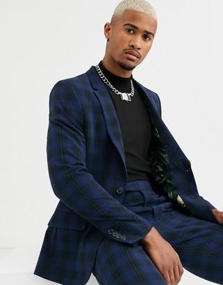Asos Design DESIGN skinny suit jacket in navy seersucker