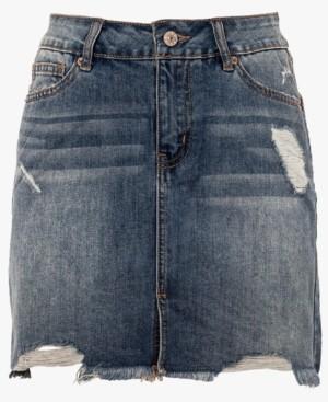 Thumbnail for your product : Rewash Juniors' Distressed Raw Hem Denim Mini Skirt