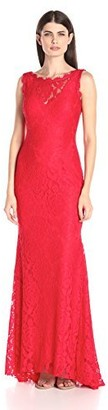 Betsy & Adam Women's Long Lace Gown Low Back Dress