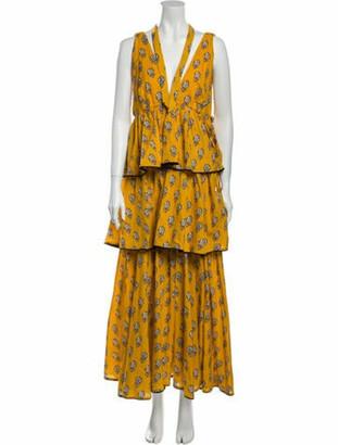Rhode Resort Floral Print Midi Length Dress w/ Tags Yellow Floral Print Midi Length Dress w/ Tags