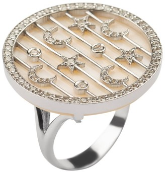 Narmeen White Gold, Diamond and Mother-of-Pearl Jahan Sky Ring