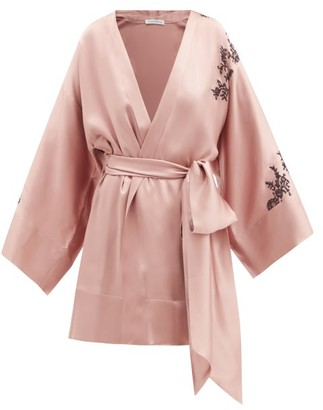 Carine Gilson Lace-trimmed Cropped Silk-satin Robe - Light Brown