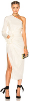 Lanvin One Shoulder Silk Dress in Neutrals,White.