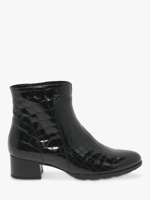 Gabor Delphino Patent Croc Leather Ankle Boots