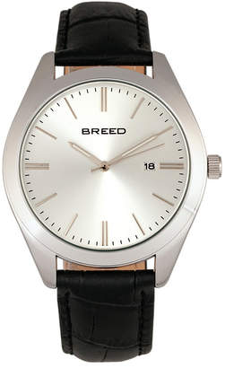 Breed Quartz Louis Silver And Black And Silver Genuine Leather Watches 42mm