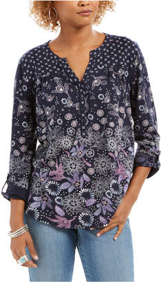 Style&Co. Style & Co Petite Printed Roll-Tab Sleeve Top