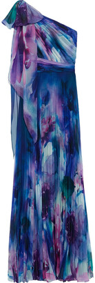 Marchesa Notte One-shoulder Pleated Floral-print Chiffon Gown