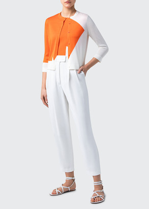 Akris Star Intarsia Silk Button-Front Knit Cardigan