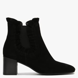Kennel + Schmenger Sora Black Suede Ruched Chelsea Boots