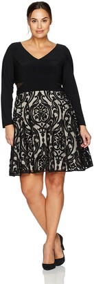 Xscape Evenings Women's Plus Size Short Flocked Party with Long Sleeve Ity Top