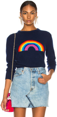 Alberta Ferretti Rainbow Crewneck Sweater in Navy & Multicolor | FWRD