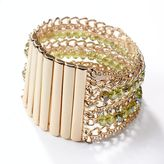 Vera Wang Simply vera gold tone simulated crystal & bead multistrand stretch bracelet